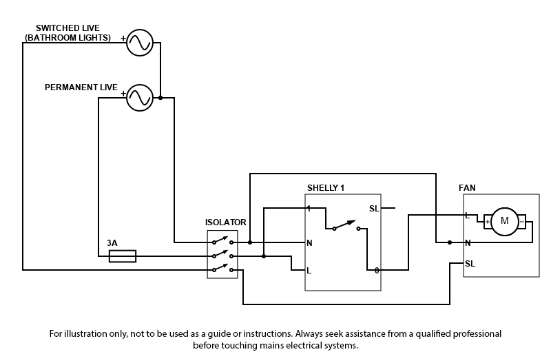 Wiring schematic for extractor fan